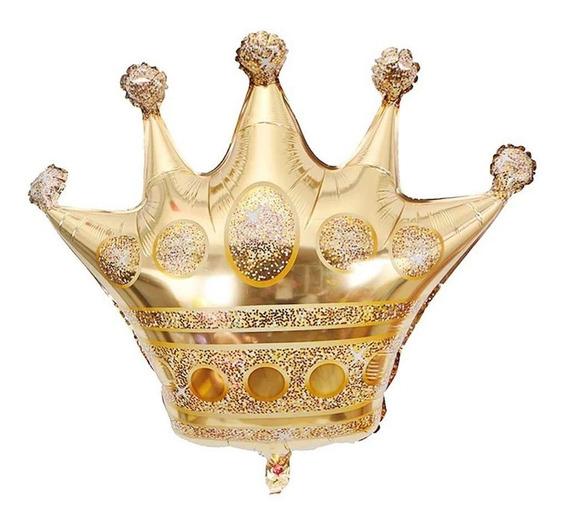 Globo Corona Dorada Gigante 70 Cm Reina Rey Princesa
