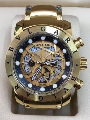 Relógio Masculino Bullgari Esqueleto Dourado Fundo Preto