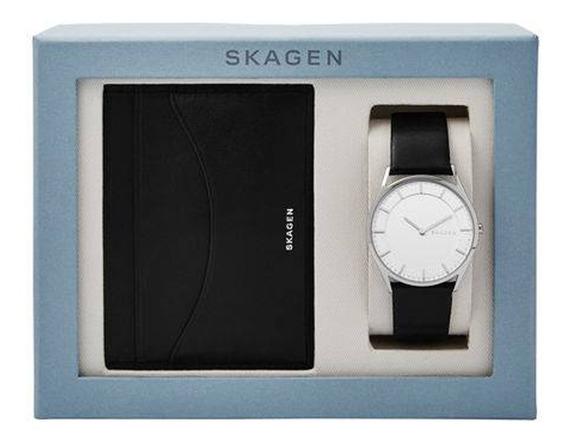 Relógio Skagen Masculino Slim Com Porta Cartão - Skw1077/0bi