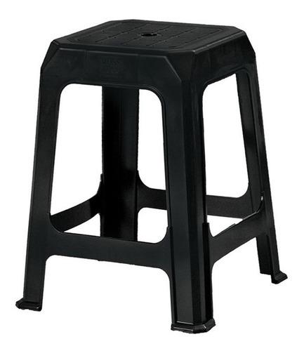 Imagen 1 de 3 de Banqueta Plastica Reforzada Apilable Negra X12 Unidades