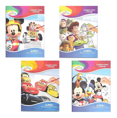 Imagen 1 de 5 de Libros Jumbo P/ Colorear Paquete Disney Iluminar Infantiles
