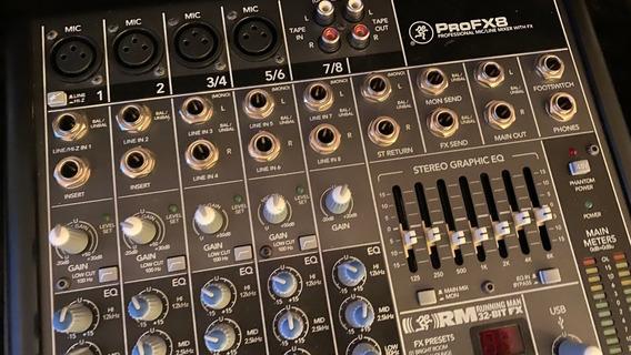 Mesa De Som Mackie 8 Canais Profx-8 Usada + Estojo