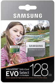 Cartao Micro Sd 128gb Samsung Evo Select U3 4k 100mb/s Orig.