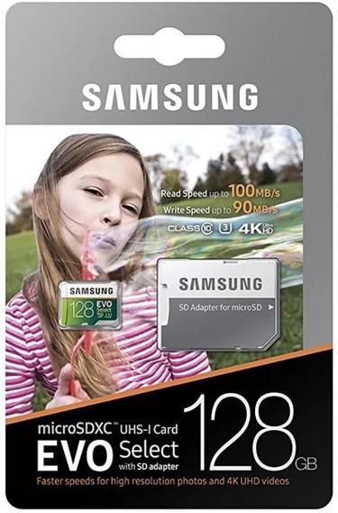Cartao Micro Sd 128gb Samsung Evo Select U3 4k 100mb/s Orig.