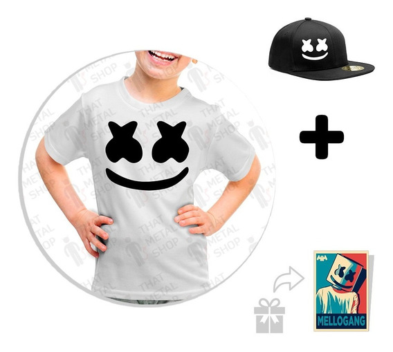 Kit Playera Marshmello + Gorra Snapback + Sticker De Regalo