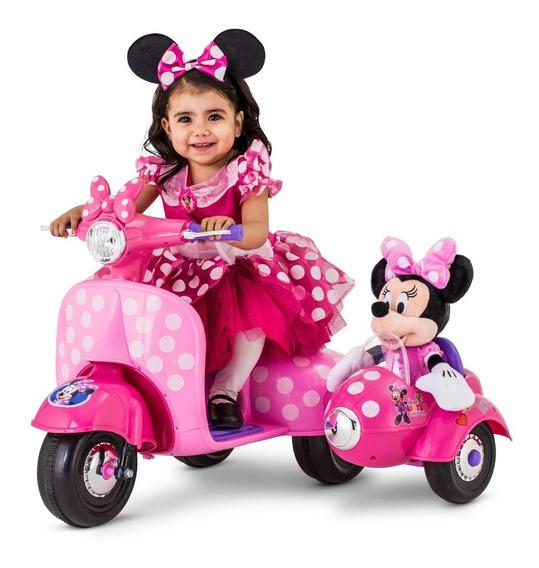 Moto Scooter Electrica Minnie Mouse C/ Mini Carrito P/muñeca