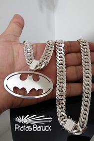 Cordão Prata 13mm Com Pingente Personalizado Batman Brind