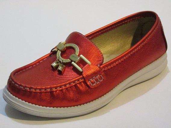 Zapato Mocasín Colombiano En Cuero Para Mujer