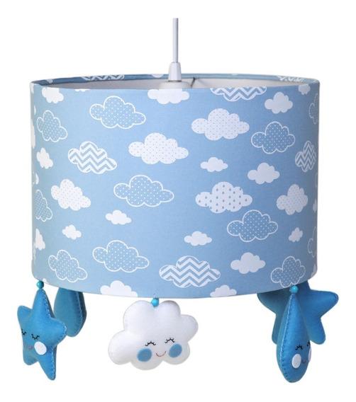 Lustre Luminária Pendente Chuva Amor Nuvem Bebê Azul Benção