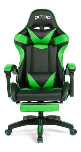 Cadeira Gamer Pctop Racer 1006 Escritório Preta E Verde