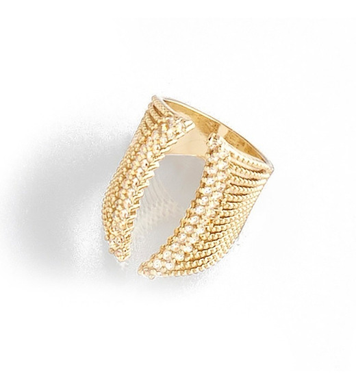 Nice 1190310 Anillo Ajustable Tejido Cristales/baño Oro 18 K