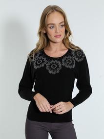 0f3423b51 Blusa Tricot Com Flor Bordada Customizada - Camisetas e Blusas no ...
