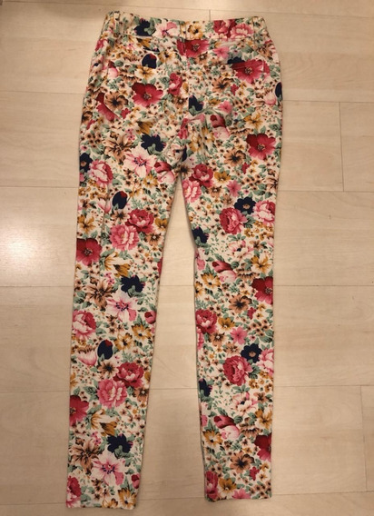 Calça Reta Importada Estampada Flores - Tamanho 36