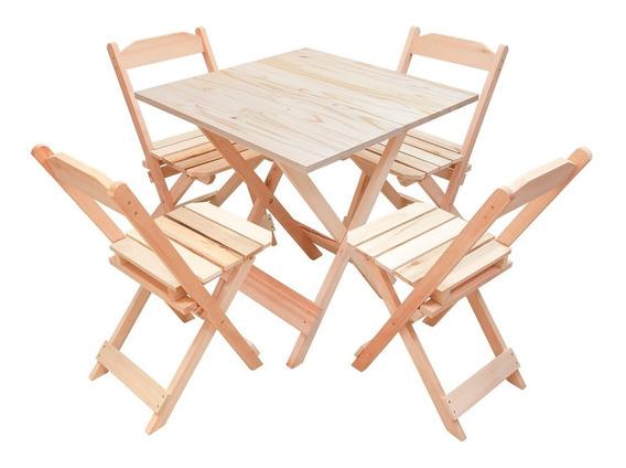 Jogo 70x70 De Mesa C/ 4 Cadeiras Dobrável Em Madeira P/ Bar