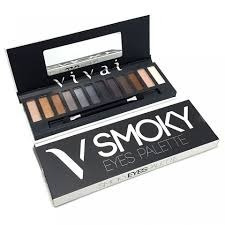 Paleta 12 Sombras Vivai Smoky Kit Maquiagem + Pincel Nude