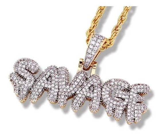 Colar Savage Cor Ouro Mini Zirconia Savage Hip-hop 6ix9ine