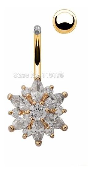 Piercing De Umbigo Fl A Ouro,flor De Cristal