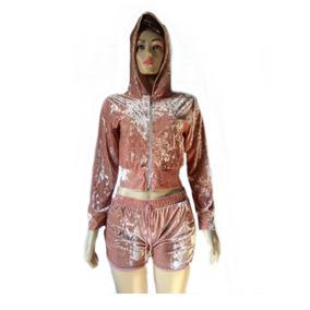 Conjunto Cropped Casaco E Short Veludo Feminino
