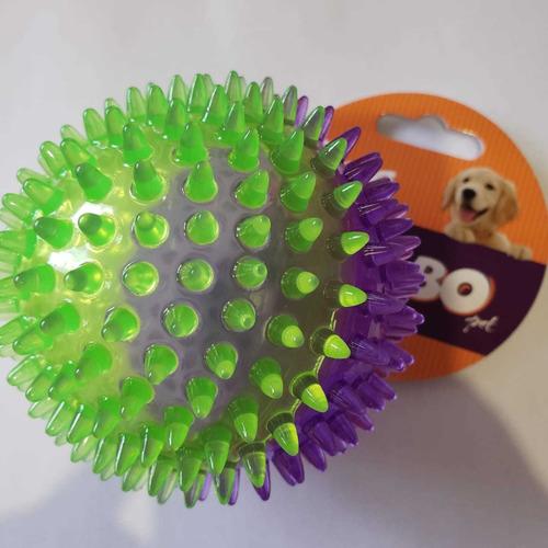 Imagem 1 de 2 de Brinquedo De Cachorro Bola Espinho C/ Som Média Roxo Verde