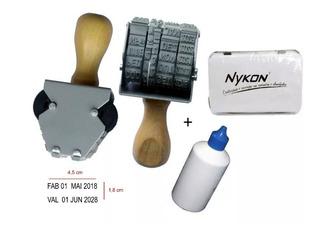 Carimbo Datador Duplo 5mm Data E Validade + Tinta E Almofada