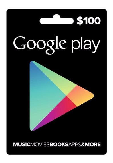 Cartão Google Play Store Gif Card Crédito R$ 100
