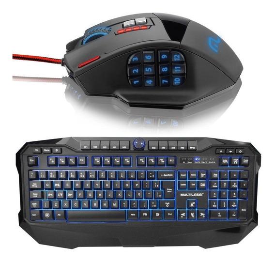 Kit Gamer Iluminum Warrior Teclado + Mouse Laser 18 Botoes