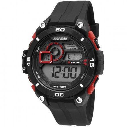 Relógio Mormaii Masculino Preto Com Vermelho Mo2019 8r
