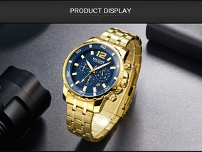 Relógio Megir Masculino Cronógrafo Dourado Clássico Luxo