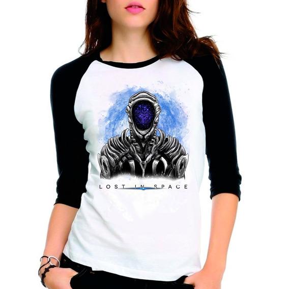 Camiseta Lost In Space Série Netflix Raglan Babylook 3/4
