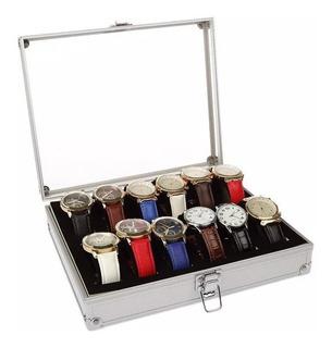 Caja Organizadora Para Relojes Tapa De Cristal 12 Ranuras