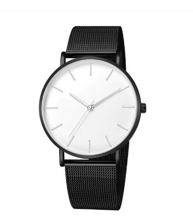 Relógio Feminino Masc Pulseira Malha Clássico Preto Branco