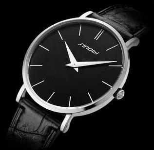 Relógio Masculino Ultra Fino Sinobi Com Pulseira De Couro