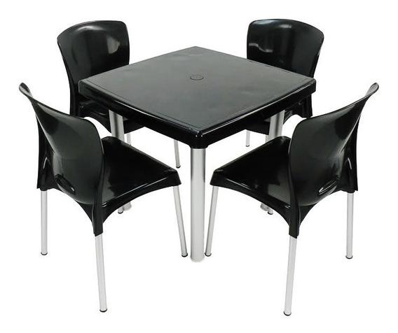 Jogo Mesa Quadrada Perna Alumínio E 4 Cadeiras Cozinha