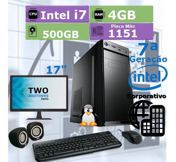 Pc Desktop 7ª Geração I7 7700 4gb Hd 500gb + Kit + Monitor