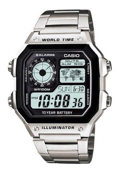 Relogio Casio Ae-1200whd Aço Horario Mundial 5 Alarmes 100m