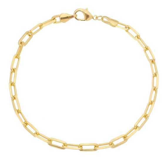 Pulseira Masculina Bracelete 20cm 4,2mm Folheada Á Ouro