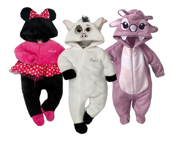 Kit 3 Mamelucos Disney Minnie, Pua, Angel