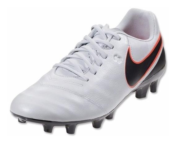 Chuteira Nike Gênio Leather Fg Prata, Couro, Oferta