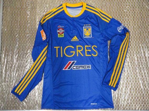 Jersey Playera Camiseta Tigres Uanl Visita Azul Manga Larga