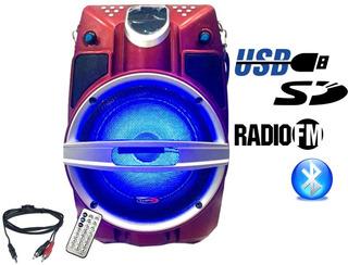 Bafle Portatil Recargable 6.5 Bluetooth Usb Sd Fm La Roca
