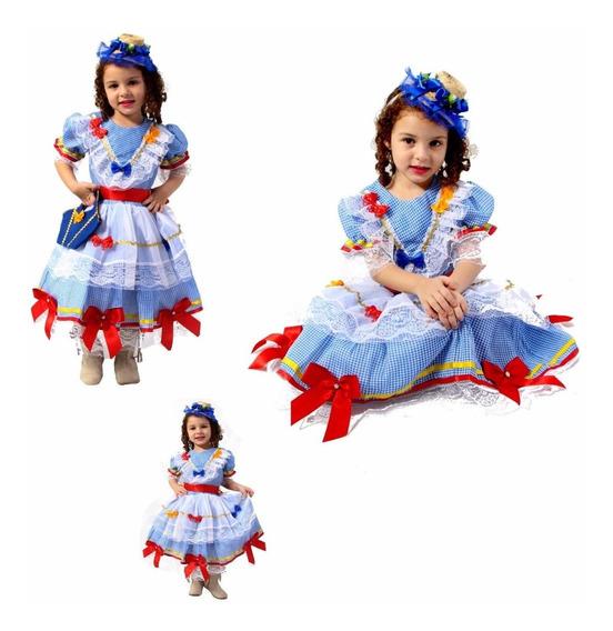 Vestido Festa Junina Super Luxo Infantil C/ Tiara + Bolsinha