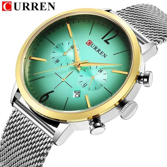 Relógio Curren 8313 Original Cronógrafo Funcional Aço Inox