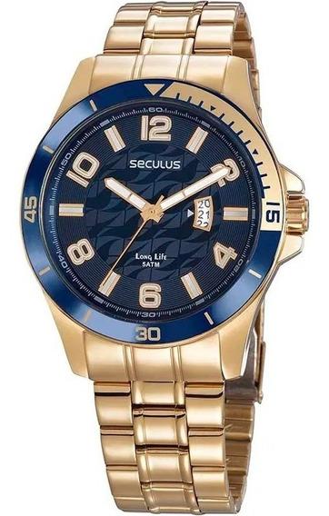 Relógio Analógico Dourado Masculino Seculus 28990gpsvda2