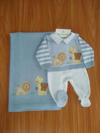 Saída De Maternidade Menino- Tricot Azul/ Branco Safari