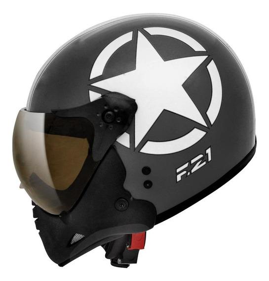 Capacete para moto Peels F-21 Army preto/brancoM