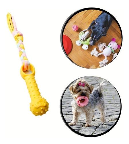 Mordedor Pet Brinquedo Corda Ossinho De Borracha Cor:amarelo