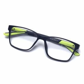 Armação Óculos De Grau Masculino Quadrado Preto Com Verde