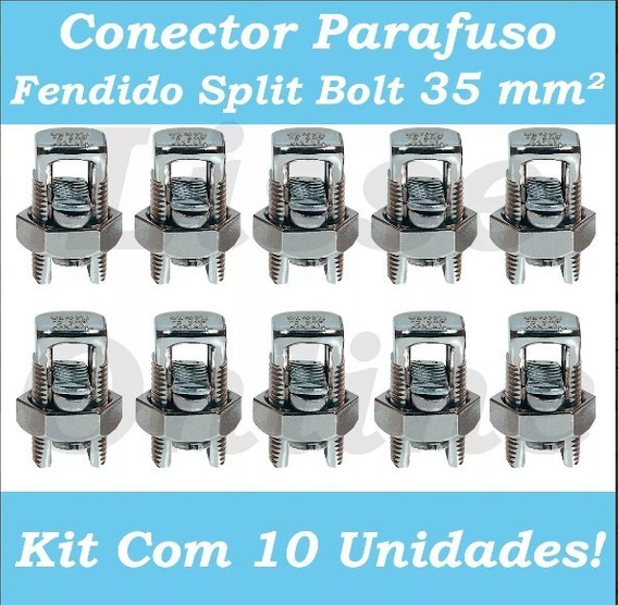 Kit 10 - Conectores Parafuso Fendido 35mm (split Bolt)
