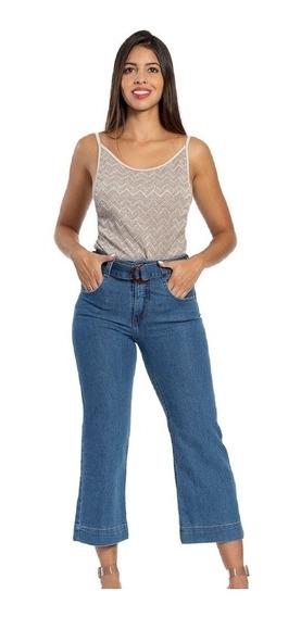 Calça Jeans Feminina Pantacourt Biotipo Cintura Alta Azul