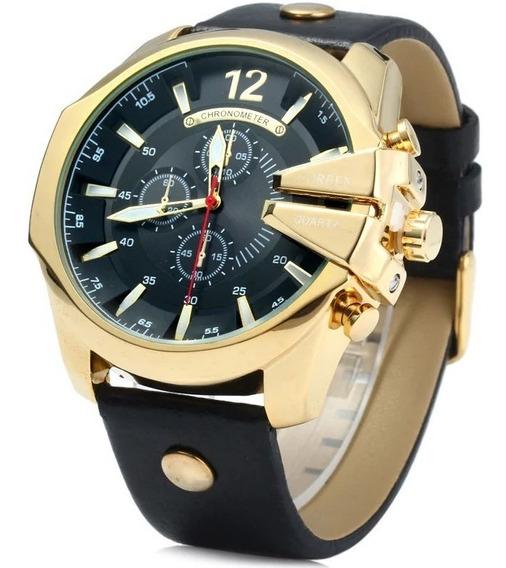 Relógio Masculino Luxo Pulseira De Couro A Prova De Agua